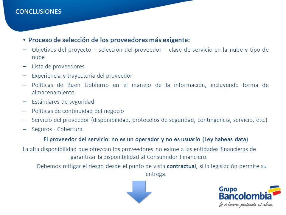 Proceso de selección de los proveedores más exigente: – Objetivos del proyecto – selección del proveedor – clase de servicio en la nube y tipo de nube