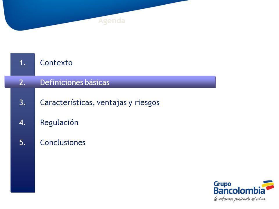 1.Contexto 2.Definiciones básicas 3.Características, ventajas y riesgos 4.Regulación 5.Conclusiones Agenda