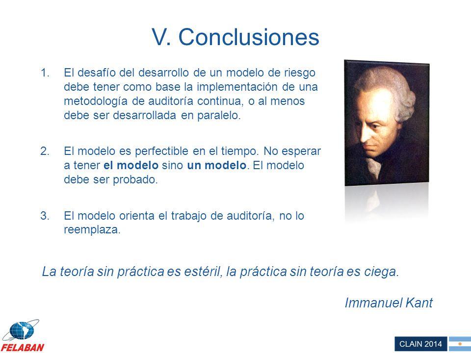 V. Conclusiones 1.El desafío del desarrollo de un modelo de riesgo debe tener como base la implementación de una metodología de auditoría continua, o