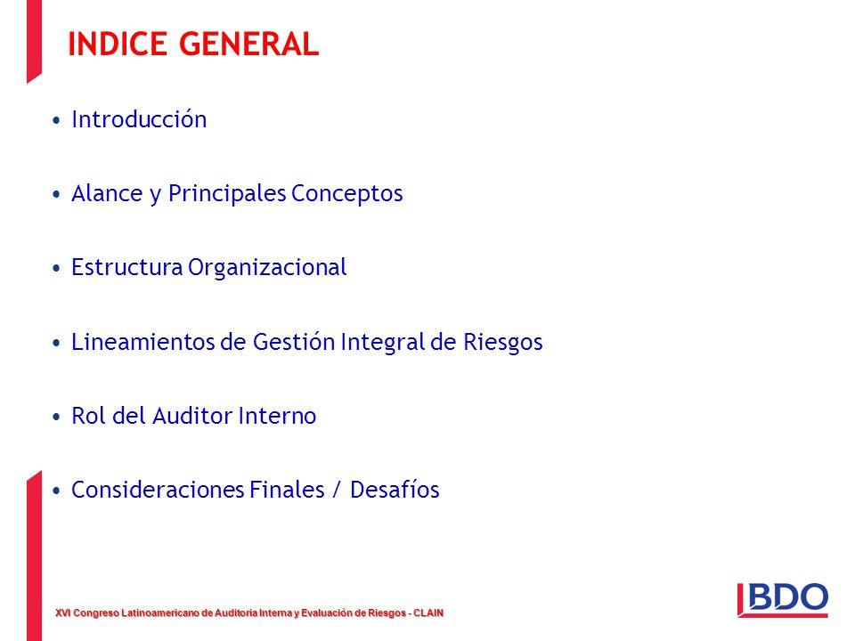 XVI Congreso Latinoamericano de Auditoria Interna y Evaluación de Riesgos - CLAIN INDICE GENERAL Introducción Alance y Principales Conceptos Estructur