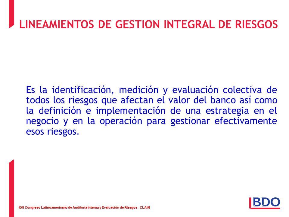XVI Congreso Latinoamericano de Auditoria Interna y Evaluación de Riesgos - CLAIN LINEAMIENTOS DE GESTION INTEGRAL DE RIESGOS Es la identificación, me