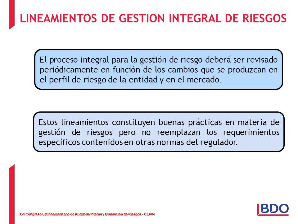 XVI Congreso Latinoamericano de Auditoria Interna y Evaluación de Riesgos - CLAIN LINEAMIENTOS DE GESTION INTEGRAL DE RIESGOS El proceso integral para la gestión de riesgo deberá ser revisado periódicamente en función de los cambios que se produzcan en el perfil de riesgo de la entidad y en el mercado.