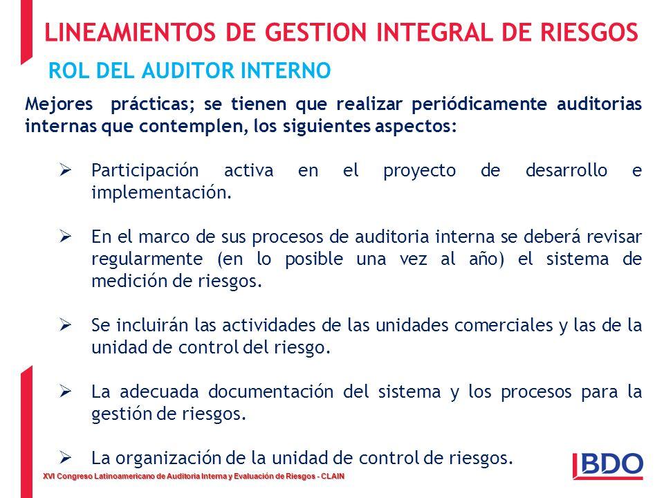 XVI Congreso Latinoamericano de Auditoria Interna y Evaluación de Riesgos - CLAIN LINEAMIENTOS DE GESTION INTEGRAL DE RIESGOS ROL DEL AUDITOR INTERNO