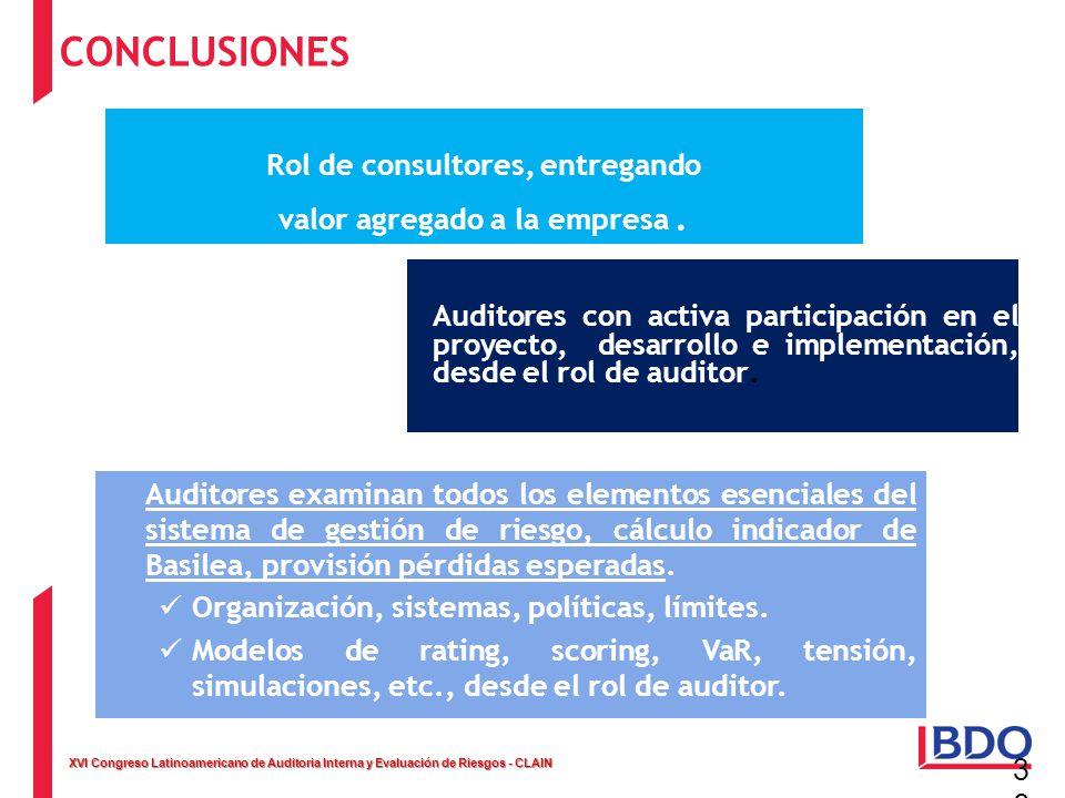 XVI Congreso Latinoamericano de Auditoria Interna y Evaluación de Riesgos - CLAIN 36 Auditores con activa participación en el proyecto, desarrollo e i