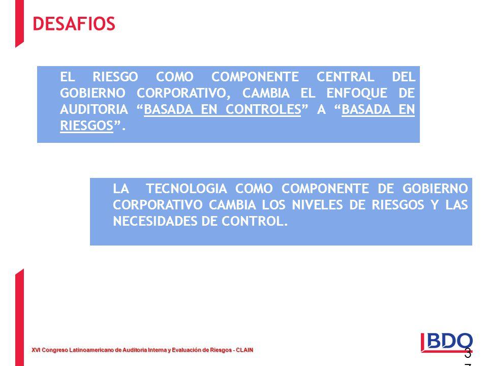 XVI Congreso Latinoamericano de Auditoria Interna y Evaluación de Riesgos - CLAIN 37 EL RIESGO COMO COMPONENTE CENTRAL DEL GOBIERNO CORPORATIVO, CAMBI