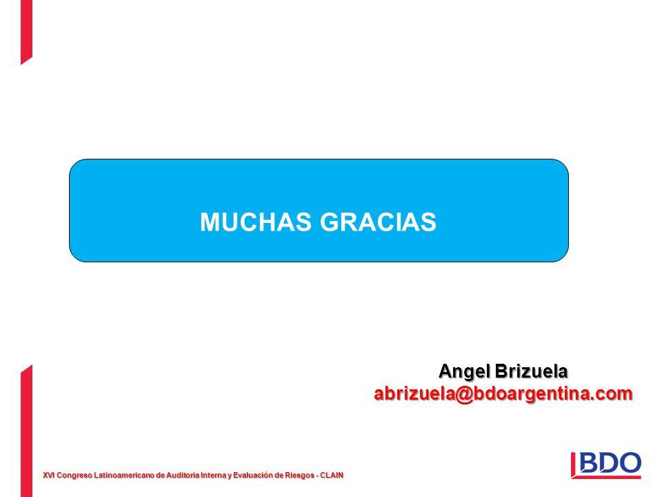 XVI Congreso Latinoamericano de Auditoria Interna y Evaluación de Riesgos - CLAIN MUCHAS GRACIAS Angel Brizuela abrizuela@bdoargentina.com