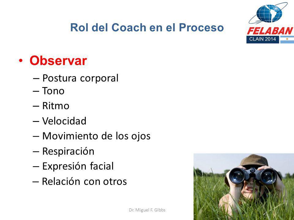 Observar – Postura corporal Dr. Miguel F. Gibbs Rol del Coach en el Proceso – Tono – Ritmo – Velocidad – Movimiento de los ojos – Respiración – Expres