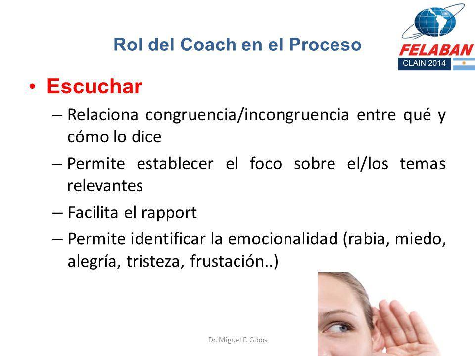 Escuchar – Relaciona congruencia/incongruencia entre qué y cómo lo dice Dr. Miguel F. Gibbs Rol del Coach en el Proceso – Permite establecer el foco s