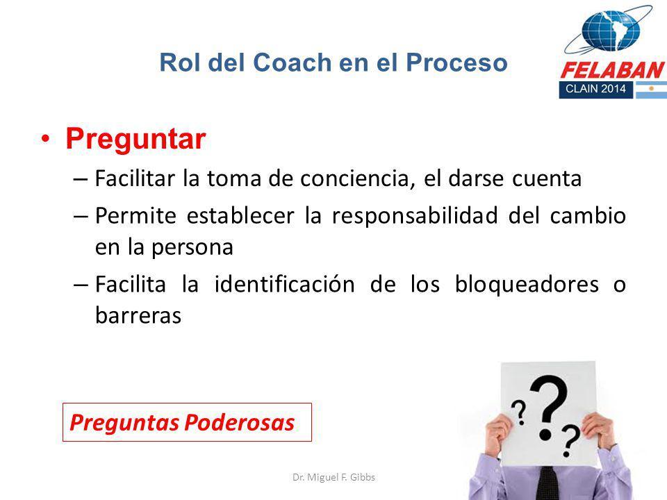 Preguntar – Facilitar la toma de conciencia, el darse cuenta Dr. Miguel F. Gibbs Rol del Coach en el Proceso – Permite establecer la responsabilidad d