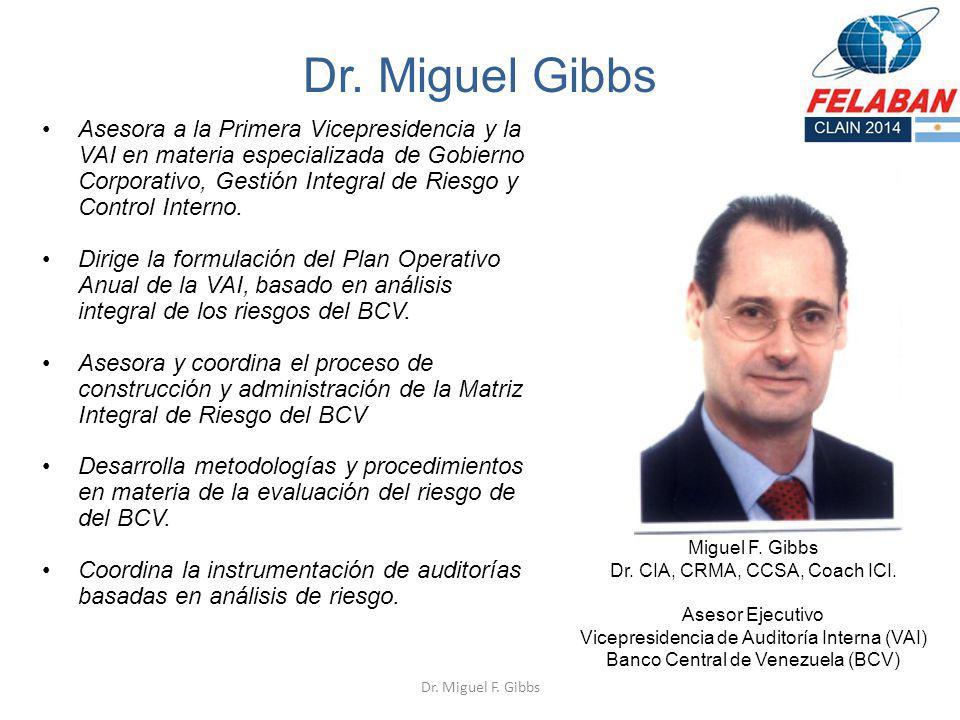 Dr. Miguel Gibbs Asesora a la Primera Vicepresidencia y la VAI en materia especializada de Gobierno Corporativo, Gestión Integral de Riesgo y Control