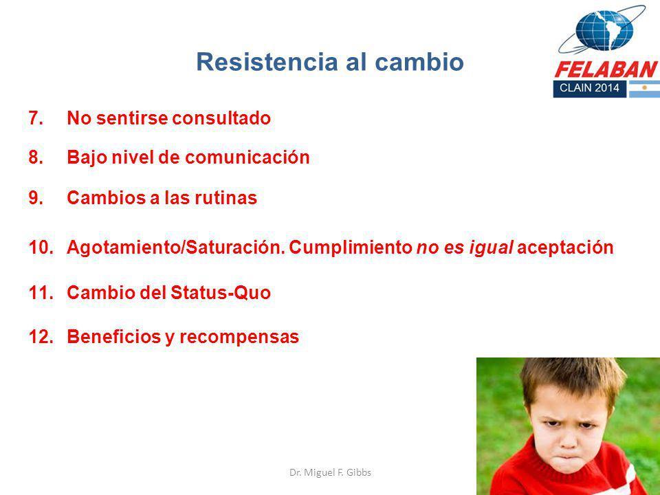 Dr. Miguel F. Gibbs 7.No sentirse consultado Resistencia al cambio 8.Bajo nivel de comunicación 9.Cambios a las rutinas 12.Beneficios y recompensas 10