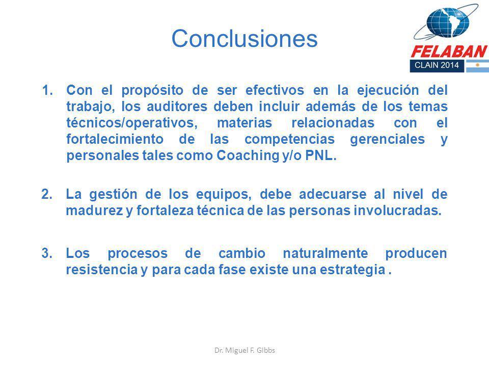 Conclusiones 1.Con el propósito de ser efectivos en la ejecución del trabajo, los auditores deben incluir además de los temas técnicos/operativos, mat