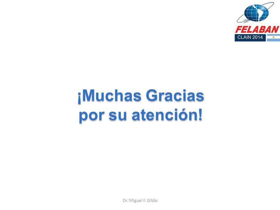¡Muchas Gracias por su atención! ¡Muchas Gracias por su atención! Dr. Miguel F. Gibbs