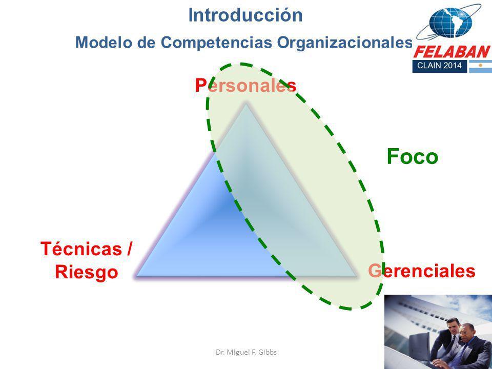 Modelo de Competencias Organizacionales Técnicas / Riesgo Personales Gerenciales Introducción Dr. Miguel F. Gibbs Foco