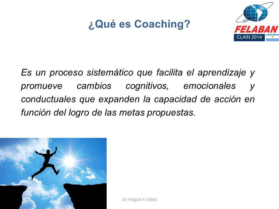 ¿Qué es Coaching? Es un proceso sistemático que facilita el aprendizaje y promueve cambios cognitivos, emocionales y conductuales que expanden la capa