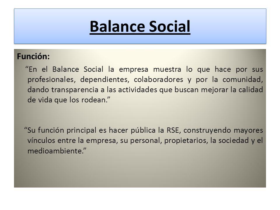 Balance Social Balance Social Función: En el Balance Social la empresa muestra lo que hace por sus profesionales, dependientes, colaboradores y por la comunidad, dando transparencia a las actividades que buscan mejorar la calidad de vida que los rodean.