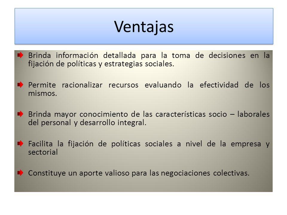 Ventajas Ventajas Brinda información detallada para la toma de decisiones en la fijación de políticas y estrategias sociales.