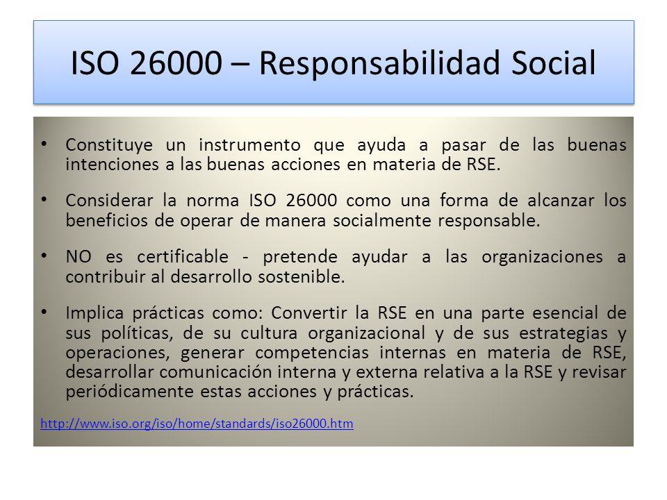 ISO 26000 – Responsabilidad Social ISO 26000 – Responsabilidad Social Constituye un instrumento que ayuda a pasar de las buenas intenciones a las buenas acciones en materia de RSE.