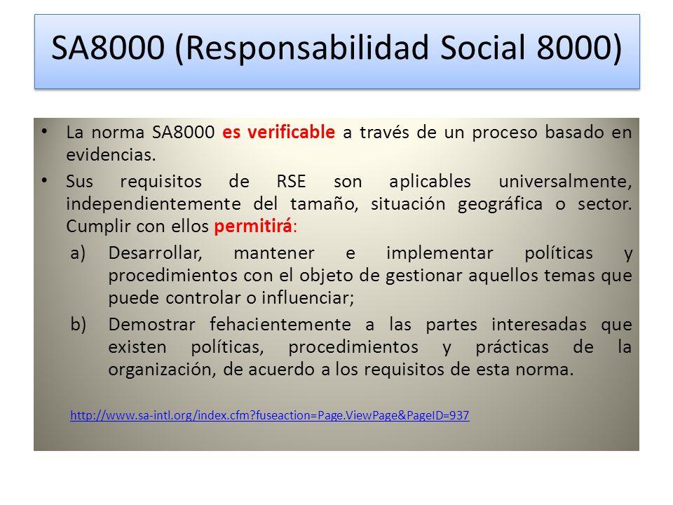 SA8000 (Responsabilidad Social 8000) SA8000 (Responsabilidad Social 8000) La norma SA8000 es verificable a través de un proceso basado en evidencias.