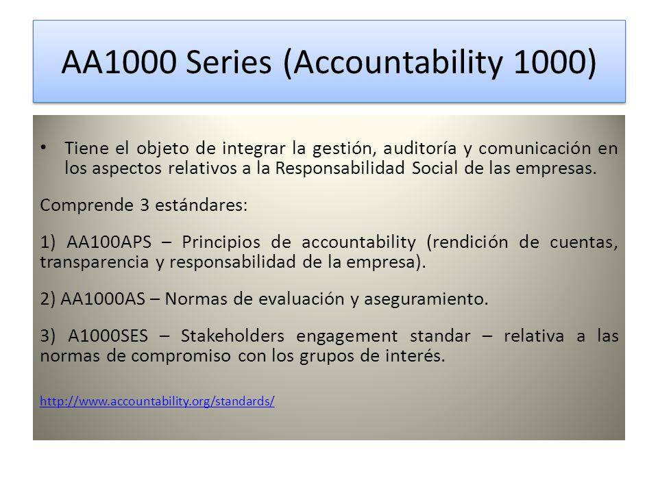 AA1000 Series (Accountability 1000) AA1000 Series (Accountability 1000) Tiene el objeto de integrar la gestión, auditoría y comunicación en los aspectos relativos a la Responsabilidad Social de las empresas.
