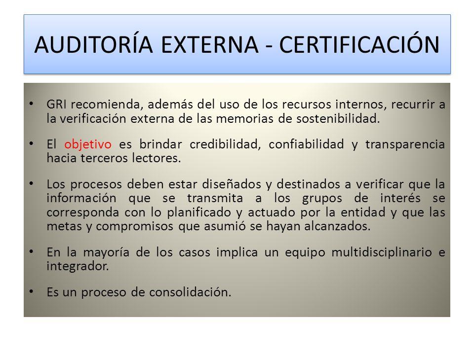 AUDITORÍA EXTERNA - CERTIFICACIÓN AUDITORÍA EXTERNA - CERTIFICACIÓN GRI recomienda, además del uso de los recursos internos, recurrir a la verificación externa de las memorias de sostenibilidad.