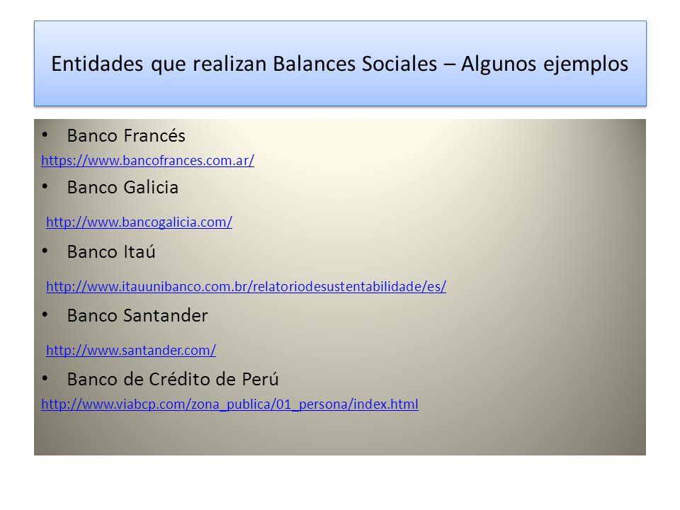 Entidades que realizan Balances Sociales – Algunos ejemplos Banco Francés https://www.bancofrances.com.ar/ Banco Galicia http://www.bancogalicia.com/ Banco Itaú http://www.itauunibanco.com.br/relatoriodesustentabilidade/es/ Banco Santander http://www.santander.com/ Banco de Crédito de Perú http://www.viabcp.com/zona_publica/01_persona/index.html