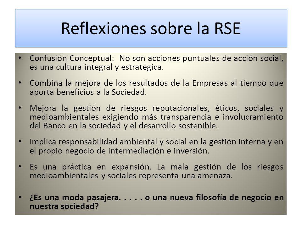 Reflexiones sobre la RSE Reflexiones sobre la RSE Confusión Conceptual: No son acciones puntuales de acción social, es una cultura integral y estratégica.