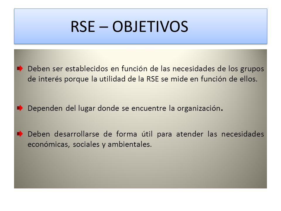 RSE – OBJETIVOS RSE – OBJETIVOS Deben ser establecidos en función de las necesidades de los grupos de interés porque la utilidad de la RSE se mide en función de ellos.