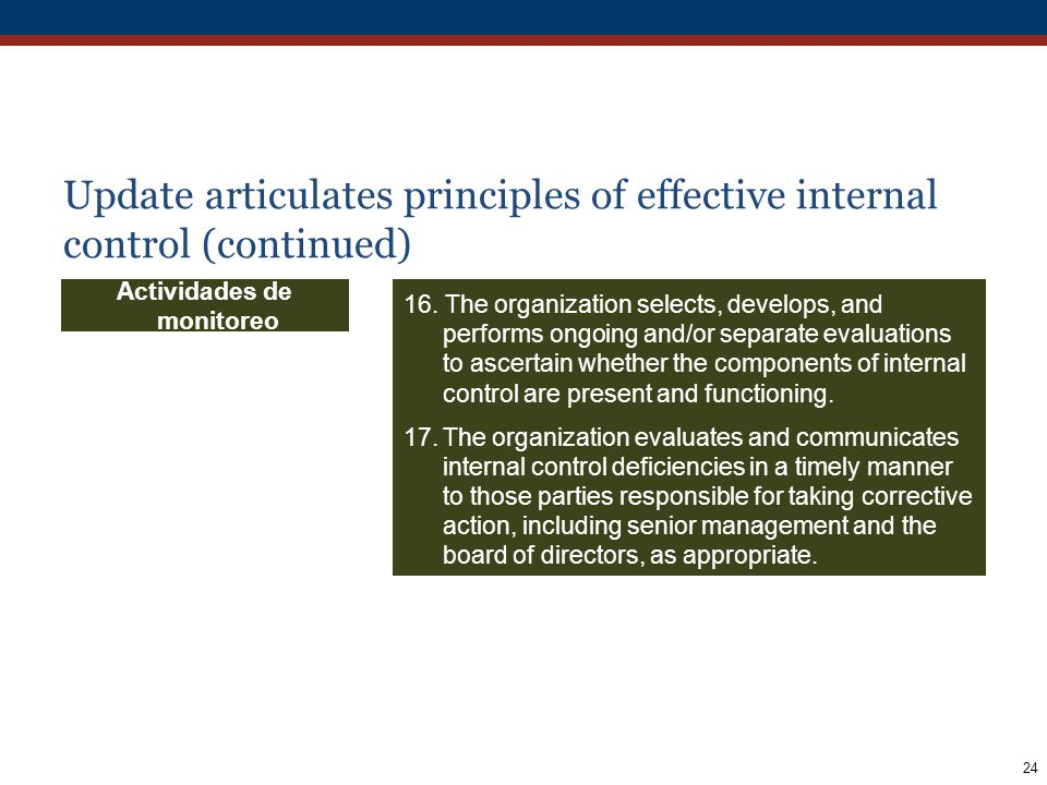24 16. The organization selects, develops, and performs ongoing and/or separate evaluations to ascertain whether the components of internal control ar