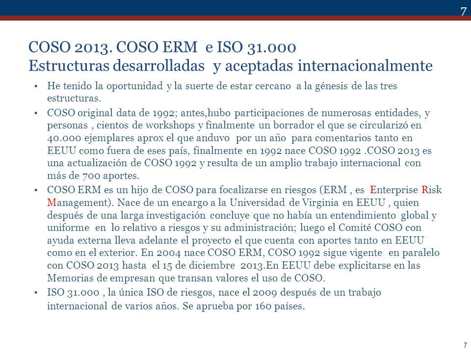 28 ALCANCE COSO contiene un planteamiento general, con los fundamentos del control interno.