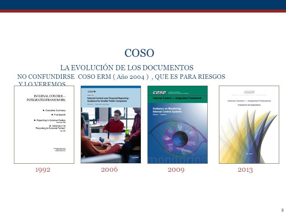 40 PRINCIPALES CAMBIOS EN LA EVALUACIÓN DE RIESGOS RESPECTO A COSO 1992 La identificación de los objetivos relevantes, es una precondición para la evaluación de riesgos.El orden es MISIÓN, y objetivos para cumplir la Misión.
