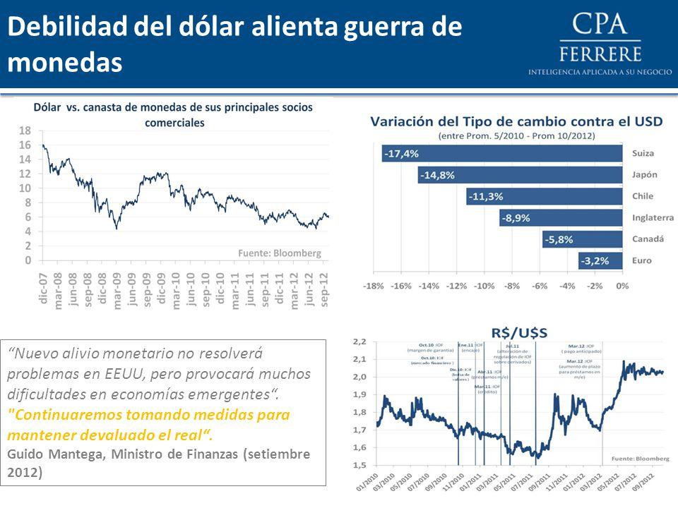 Debilidad del dólar alienta guerra de monedas Nuevo alivio monetario no resolverá problemas en EEUU, pero provocará muchos dificultades en economías emergentes.