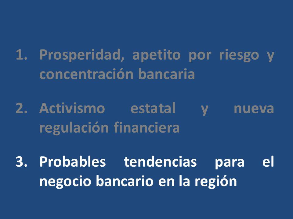 1.Prosperidad, apetito por riesgo y concentración bancaria 2.Activismo estatal y nueva regulación financiera 3.Probables tendencias para el negocio bancario en la región
