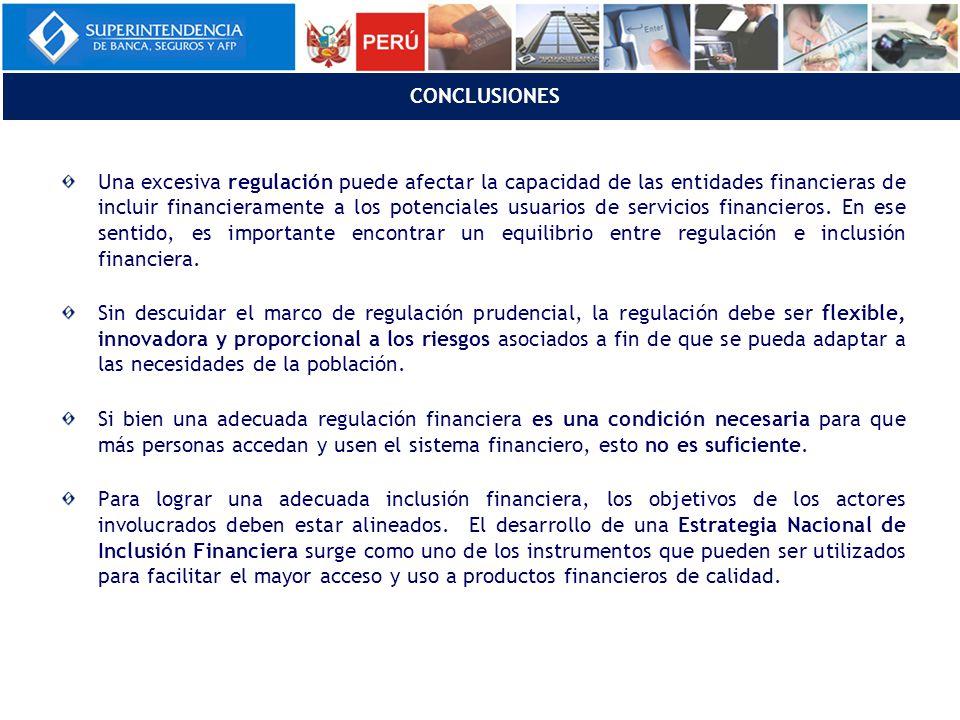 Una excesiva regulación puede afectar la capacidad de las entidades financieras de incluir financieramente a los potenciales usuarios de servicios financieros.
