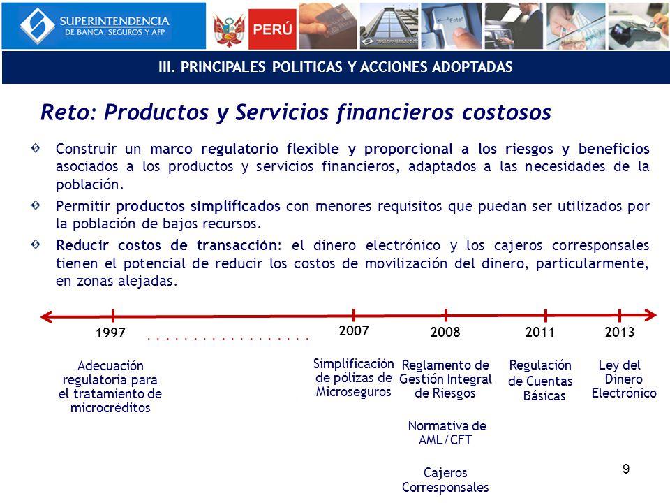 Reto: Productos y Servicios financieros costosos Construir un marco regulatorio flexible y proporcional a los riesgos y beneficios asociados a los productos y servicios financieros, adaptados a las necesidades de la población.