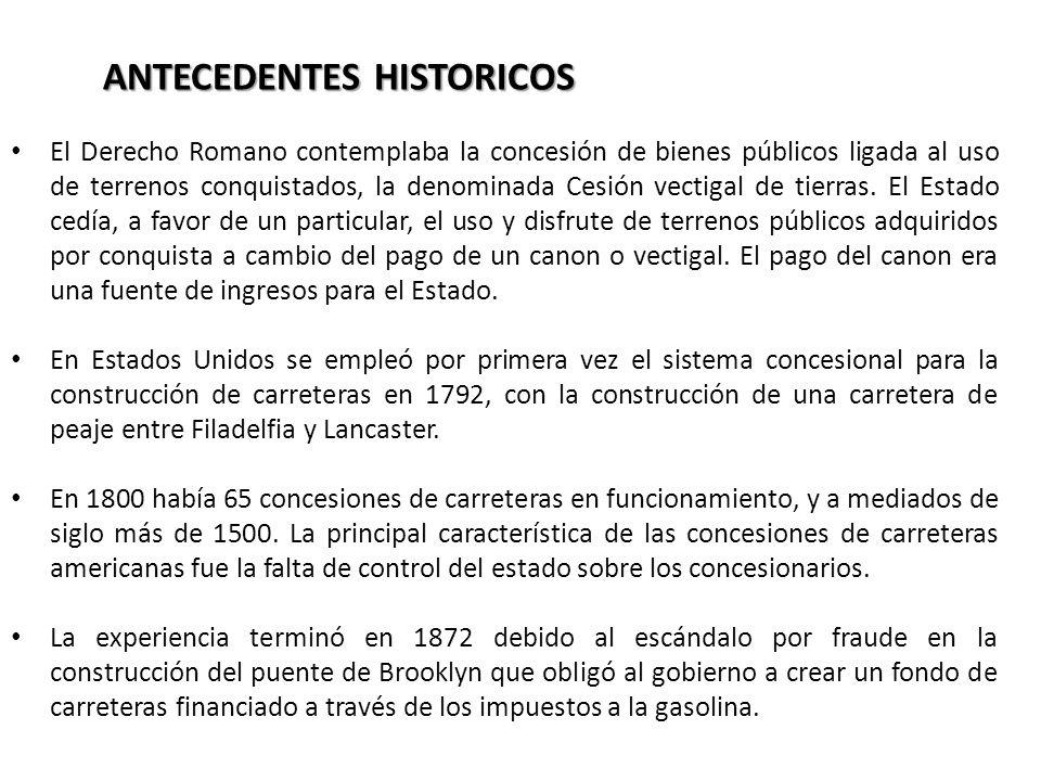 ANTECEDENTES HISTORICOS El Derecho Romano contemplaba la concesión de bienes públicos ligada al uso de terrenos conquistados, la denominada Cesión vec