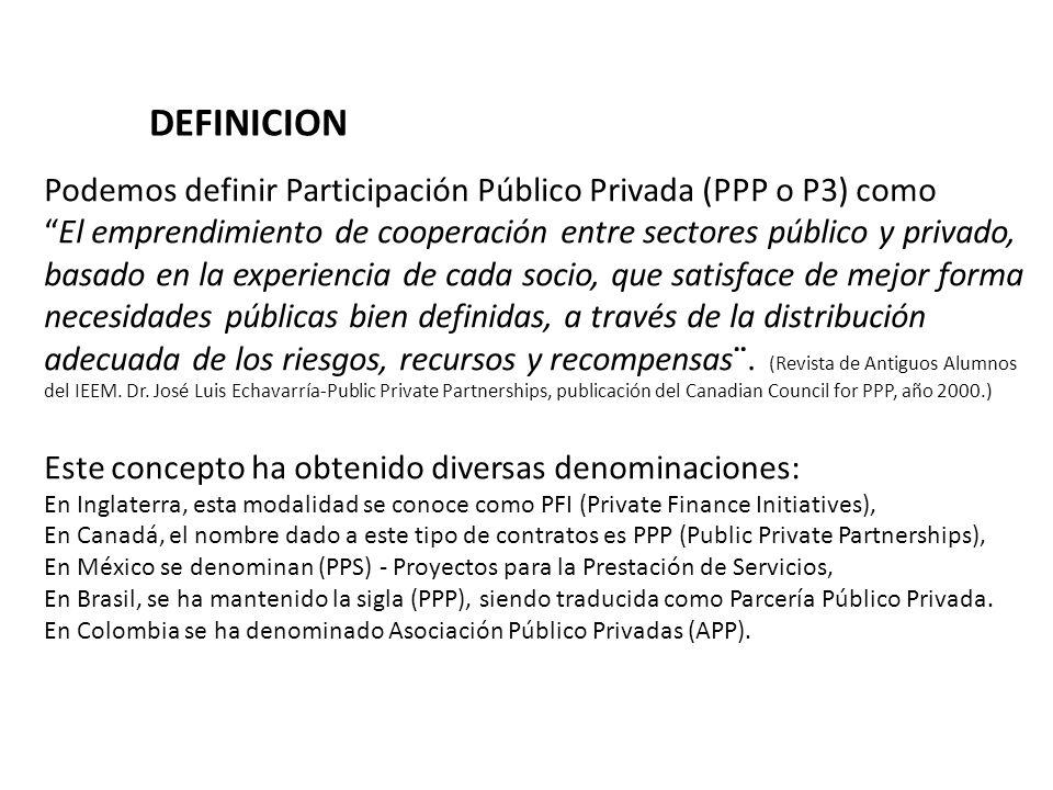 Podemos definir Participación Público Privada (PPP o P3) como El emprendimiento de cooperación entre sectores público y privado, basado en la experien