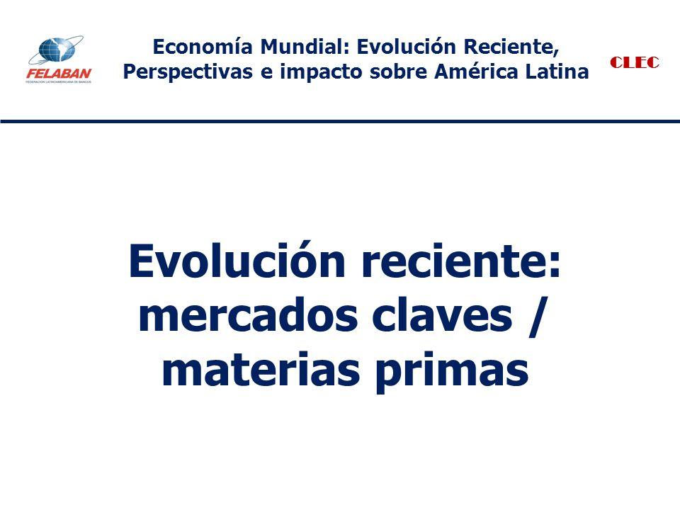 Evolución reciente: mercados claves / materias primas CLEC Economía Mundial: Evolución Reciente, Perspectivas e impacto sobre América Latina