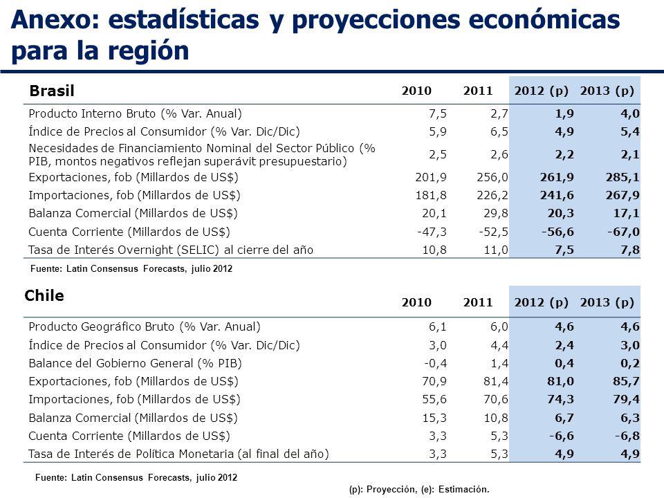 Anexo: estadísticas y proyecciones económicas para la región Fuente: Latin Consensus Forecasts, julio 2012 Brasil 201020112012 (p)2013 (p) Producto Interno Bruto (% Var.