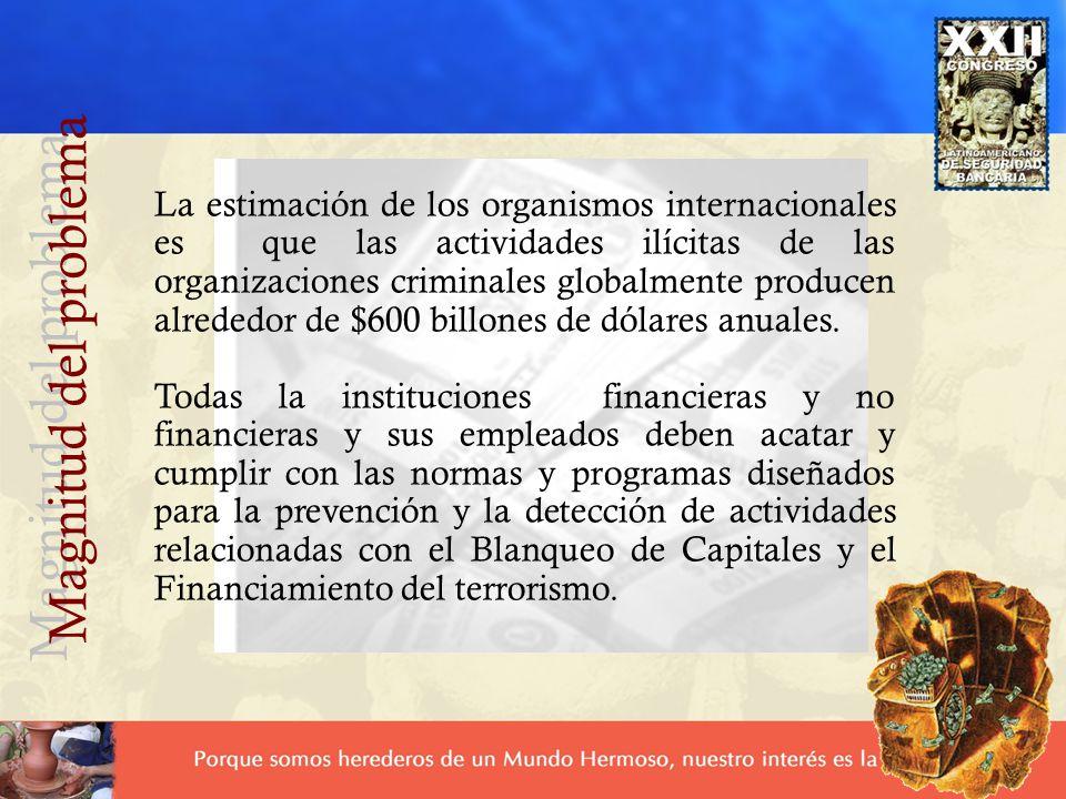 La estimación de los organismos internacionales es que las actividades ilícitas de las organizaciones criminales globalmente producen alrededor de $60