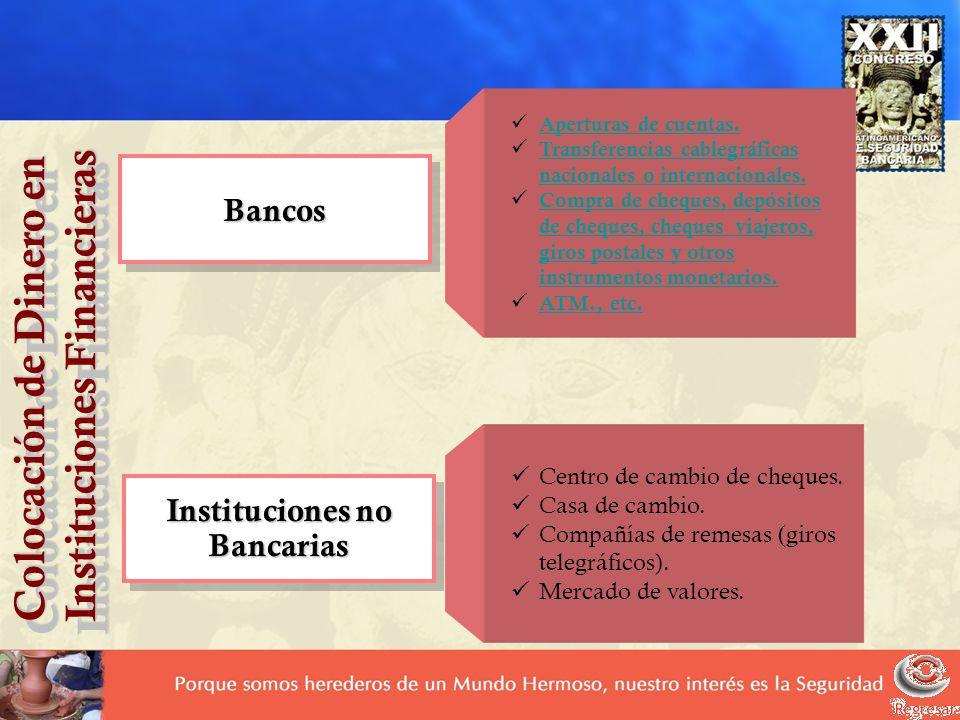 Colocación de Dinero en Instituciones Financieras Colocación de Dinero en Instituciones Financieras BancosBancos Aperturas de cuentas. Transferencias