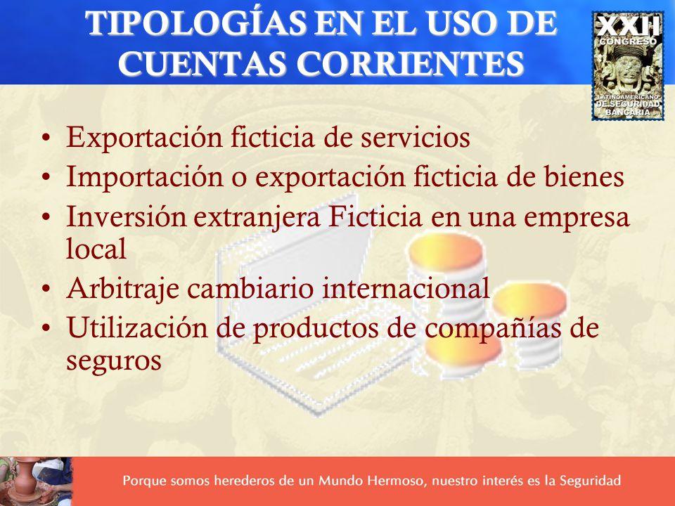 TIPOLOGÍAS EN EL USO DE CUENTAS CORRIENTES Exportación ficticia de servicios Importación o exportación ficticia de bienes Inversión extranjera Fictici