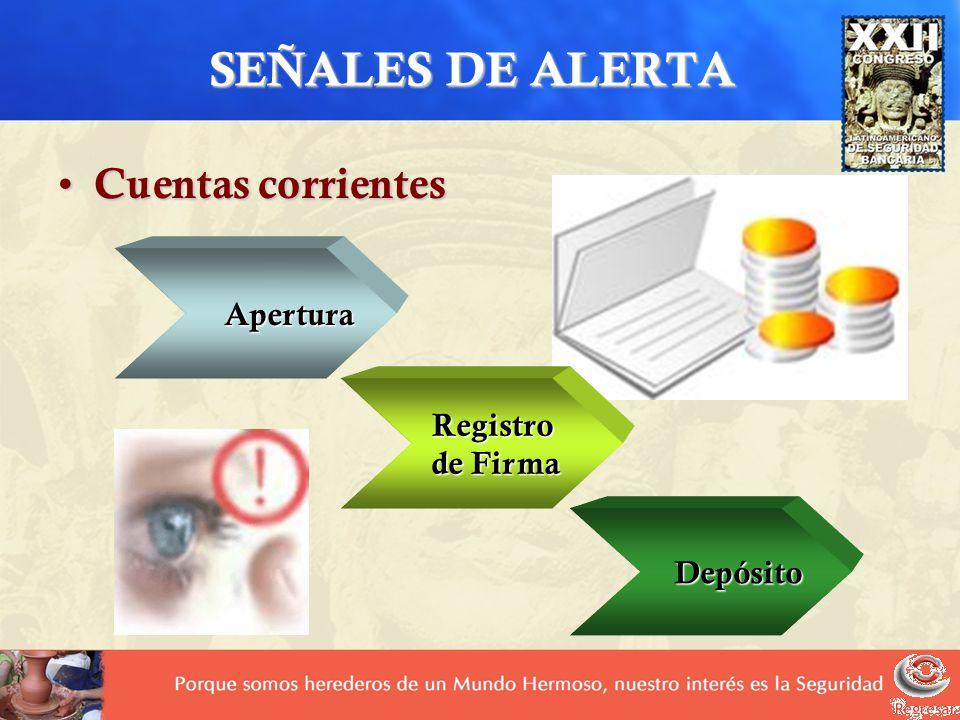 SEÑALES DE ALERTA Cuentas corrientes Cuentas corrientes Apertura Registro de Firma de Firma Depósito