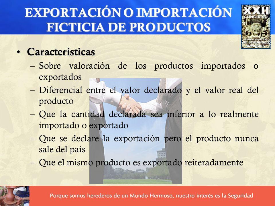 EXPORTACIÓN O IMPORTACIÓN FICTICIA DE PRODUCTOS Características Características –Sobre valoración de los productos importados o exportados –Diferencia