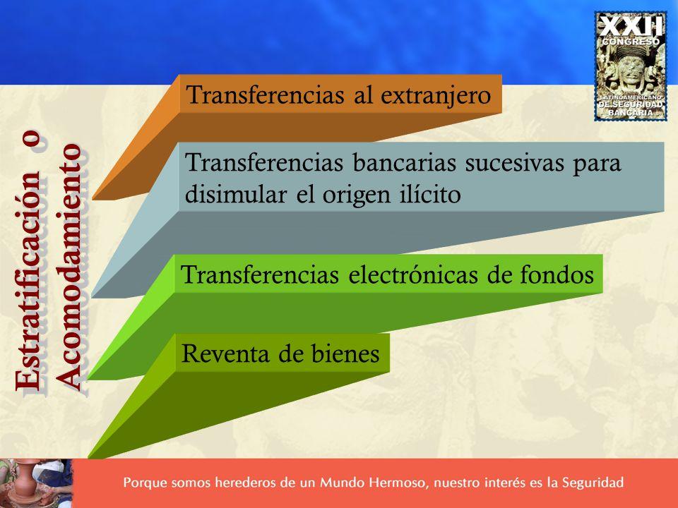 Estratificación o Acomodamiento Acomodamiento Transferencias al extranjero Transferencias bancarias sucesivas para disimular el origen ilícito Transfe