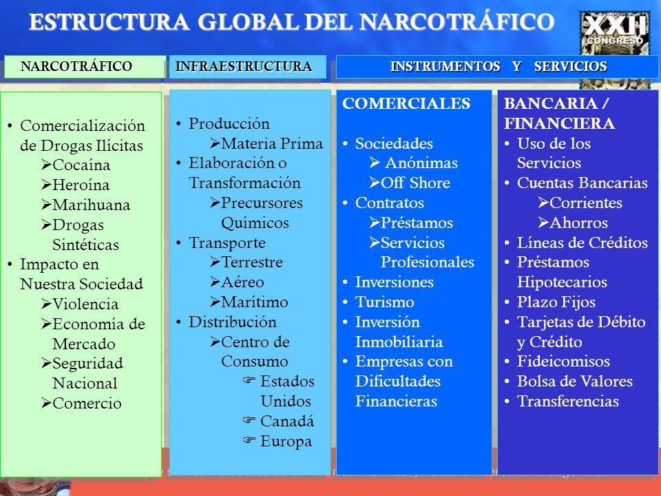 NARCOTRÁFICO NARCOTRÁFICO INFRAESTRUCTURAINFRAESTRUCTURA INSTRUMENTOS Y SERVICIOS INSTRUMENTOS Y SERVICIOS Comercialización de Drogas Ilícitas Cocaína
