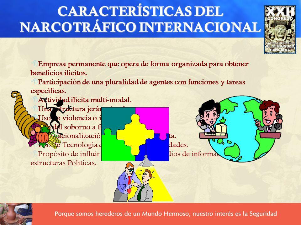 CARACTERÍSTICAS DEL NARCOTRÁFICO INTERNACIONAL 8Empresa permanente que opera de forma organizada para obtener beneficios ilícitos. 8Participación de u