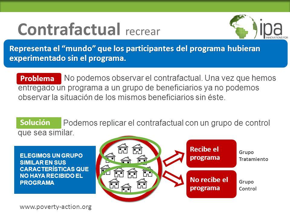 Contrafactual recrear www.poverty-action.org Problema: No podemos observar el contrafactual.