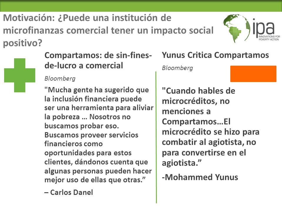 Motivación: ¿Puede una institución de microfinanzas comercial tener un impacto social positivo.