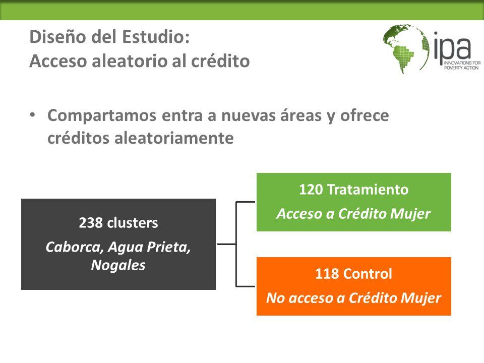 Diseño del Estudio: Acceso aleatorio al crédito Compartamos entra a nuevas áreas y ofrece créditos aleatoriamente 238 clusters Caborca, Agua Prieta, Nogales 120 Tratamiento Acceso a Crédito Mujer 118 Control No acceso a Crédito Mujer
